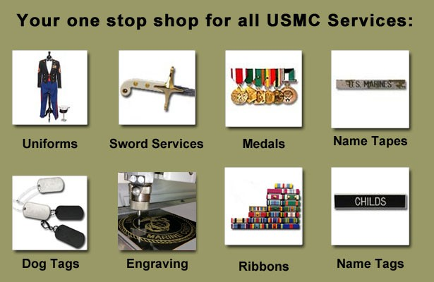 Services available at Quantico location include engraving, sword refurbishment, alterations, and more